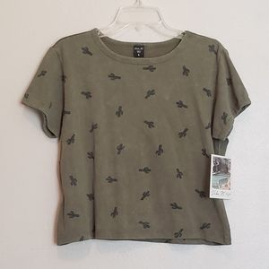 Vibe N' NWT Good Vibes Only Cactus Crop Tee
